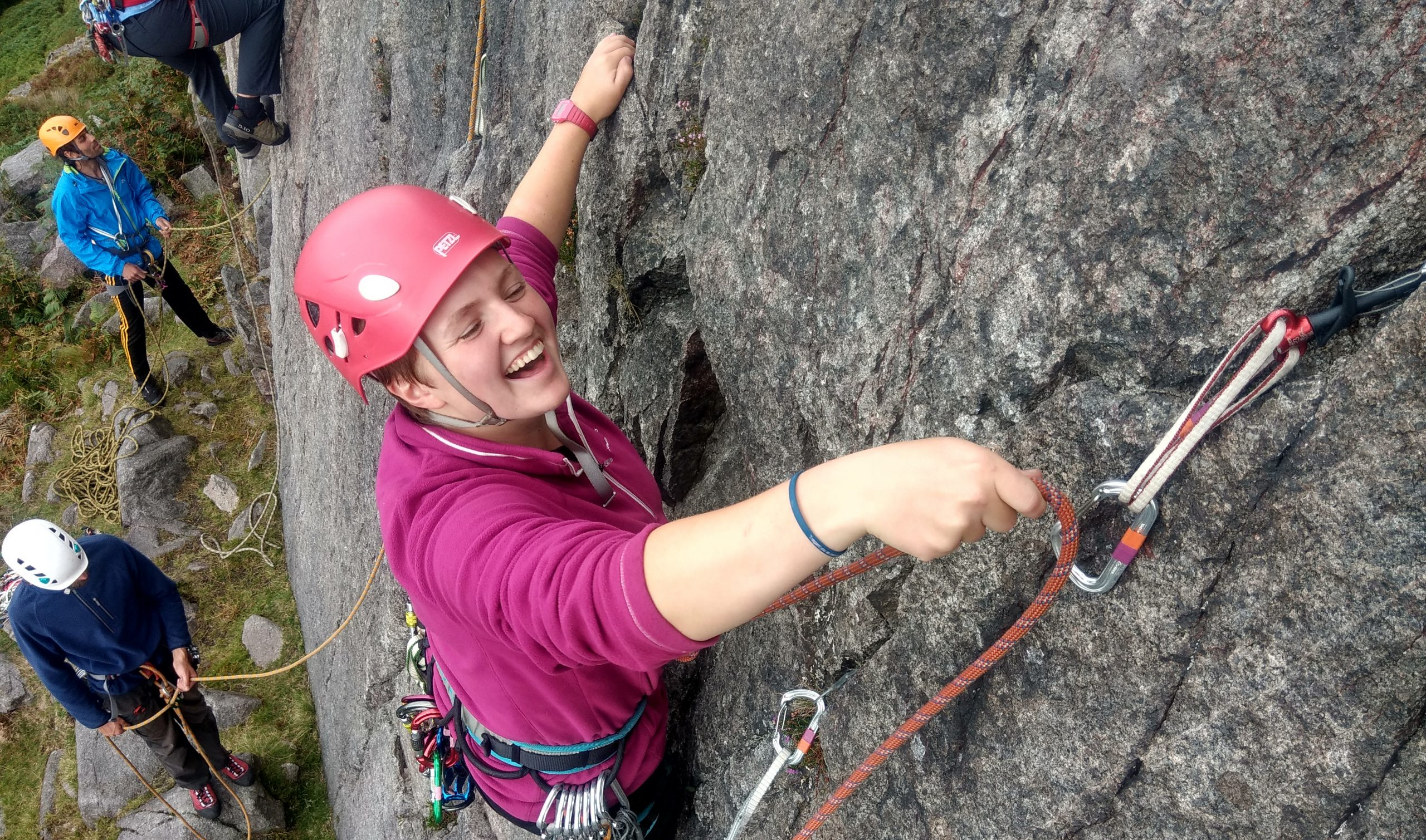 Learning to lead rock climbing course